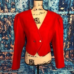 Giesswein sz m red wool top padded dbl breasted